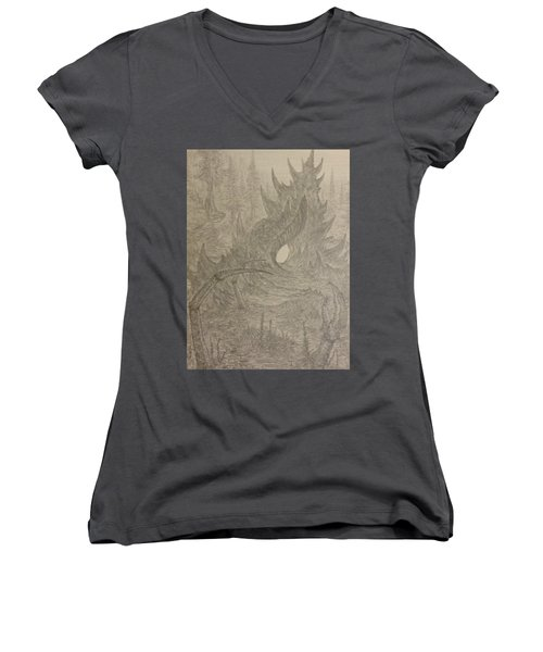 Coastal Castle Women's V-Neck T-Shirt (Junior Cut) by Corbin Cox