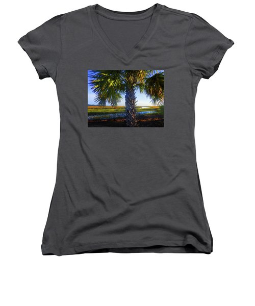Coastal High Tide  Women's V-Neck T-Shirt (Junior Cut) by Laura Ragland