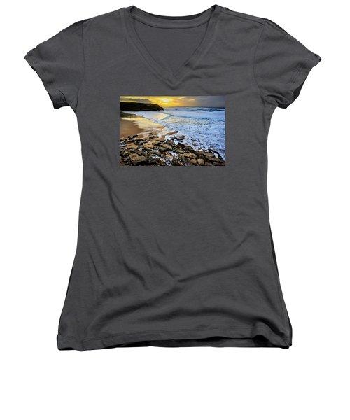 Coastal Sunset Women's V-Neck T-Shirt (Junior Cut) by Marion McCristall