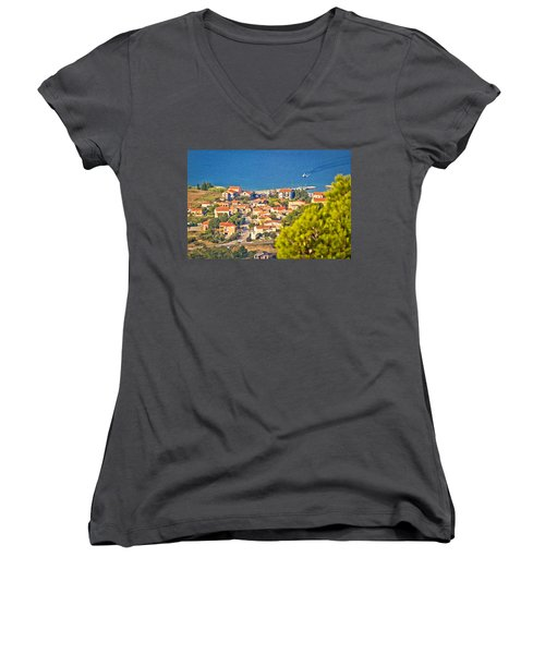 Coastal Village On Island Of Pasman Women's V-Neck T-Shirt (Junior Cut) by Brch Photography
