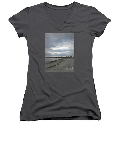 Women's V-Neck T-Shirt (Junior Cut) featuring the photograph Coastal Winter by Kristine Nora