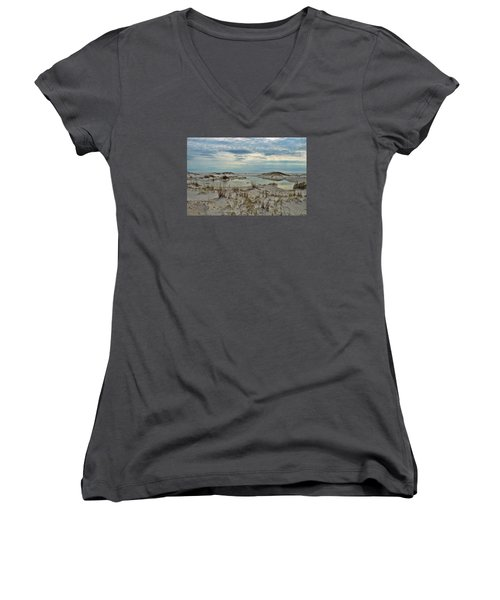 Women's V-Neck T-Shirt (Junior Cut) featuring the photograph Coastland Wetland by Renee Hardison