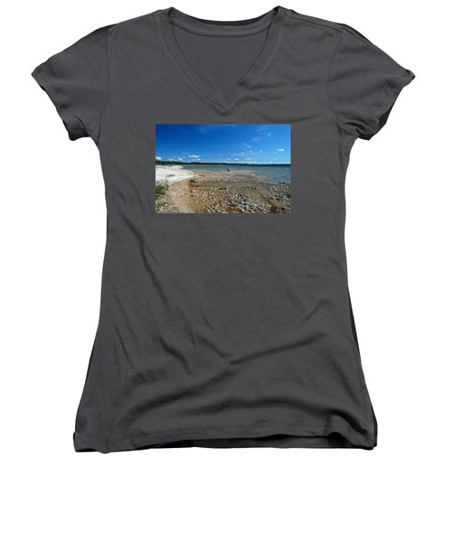 Women's V-Neck T-Shirt (Junior Cut) featuring the photograph Coastline Of Lake Michigan  Near Petoskey State Park - Little Traverse Bay by Janice Adomeit