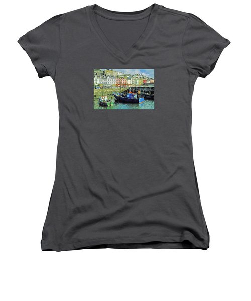 Cobh Harbour Women's V-Neck T-Shirt (Junior Cut) by Dennis Cox WorldViews