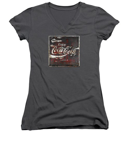 Coca Cola Grunge Sign Women's V-Neck T-Shirt (Junior Cut) by John Stephens