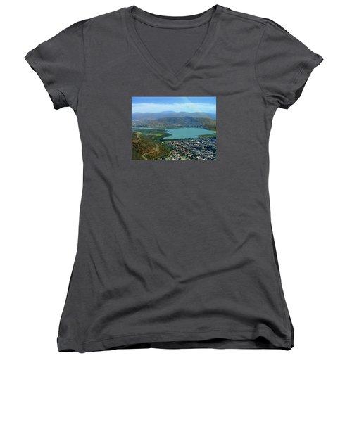 Cochabamba Lake Women's V-Neck T-Shirt (Junior Cut) by Lew Davis