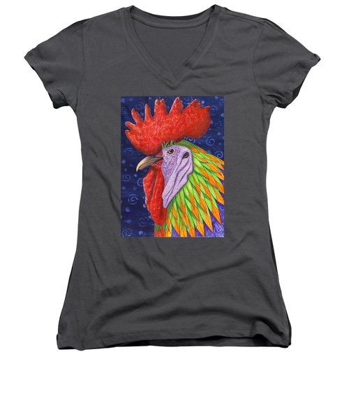 Cock A Doodle Dude IIi Women's V-Neck (Athletic Fit)