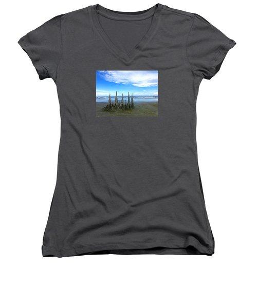 Cocoa Beach Sandcastles Women's V-Neck T-Shirt