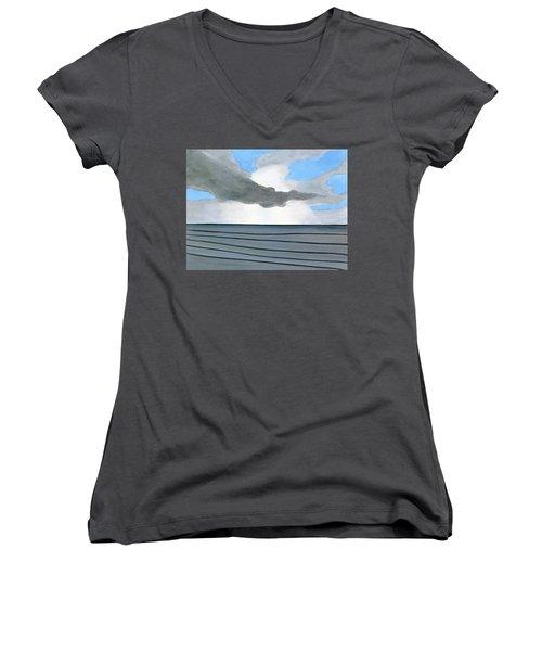 Cocoa Beach Sunrise 2016 Women's V-Neck T-Shirt (Junior Cut) by Dick Sauer