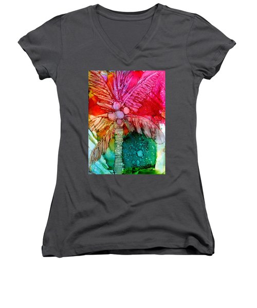 Women's V-Neck T-Shirt (Junior Cut) featuring the painting Coconut Palm Tree by Marionette Taboniar