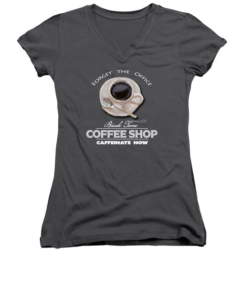 Coffe Break Women's V-Neck (Athletic Fit)
