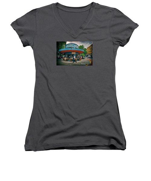 Coffee Caffeine High At 7,000 Feet Women's V-Neck T-Shirt (Junior Cut) by Sam Antonio Photography