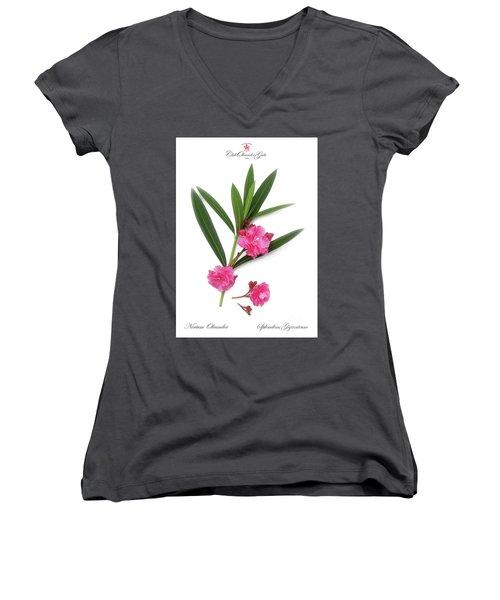 Women's V-Neck T-Shirt (Junior Cut) featuring the photograph Cog  Nerium Oleander Splendens Giganteum by Wilhelm Hufnagl