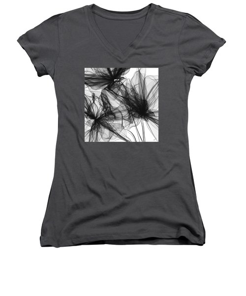 Coherence - Black And White Modern Art Women's V-Neck (Athletic Fit)