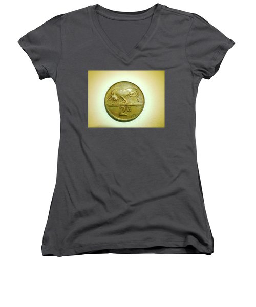 Women's V-Neck T-Shirt (Junior Cut) featuring the photograph Coin Series -  by Beto Machado