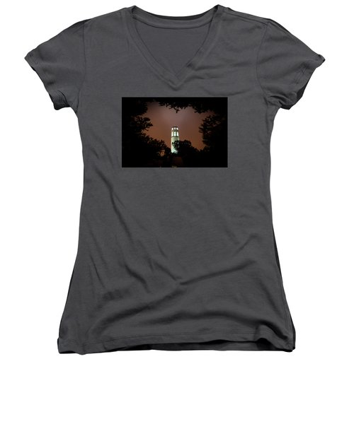 Coit Tower Through The Trees Women's V-Neck T-Shirt
