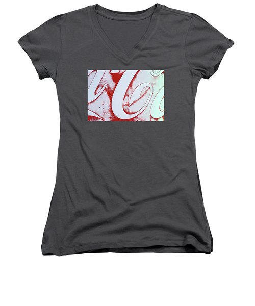 Women's V-Neck T-Shirt (Junior Cut) featuring the photograph Coke 3 by Laurie Stewart