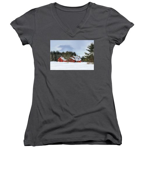 Women's V-Neck T-Shirt (Junior Cut) featuring the digital art Cold Winter Days In Vermont by Sharon Batdorf