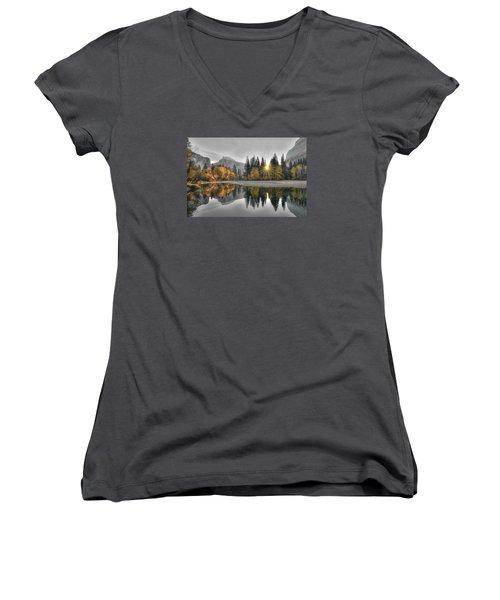 Cold Yosemite Reflections Women's V-Neck