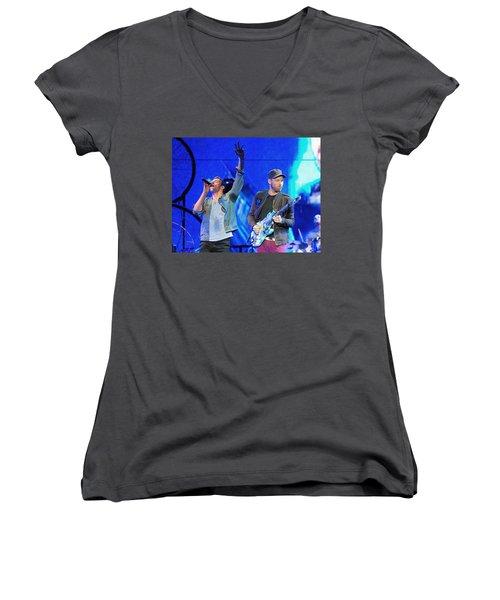 Coldplay6 Women's V-Neck T-Shirt (Junior Cut) by Rafa Rivas