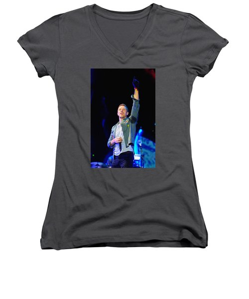 Coldplay8 Women's V-Neck T-Shirt (Junior Cut) by Rafa Rivas