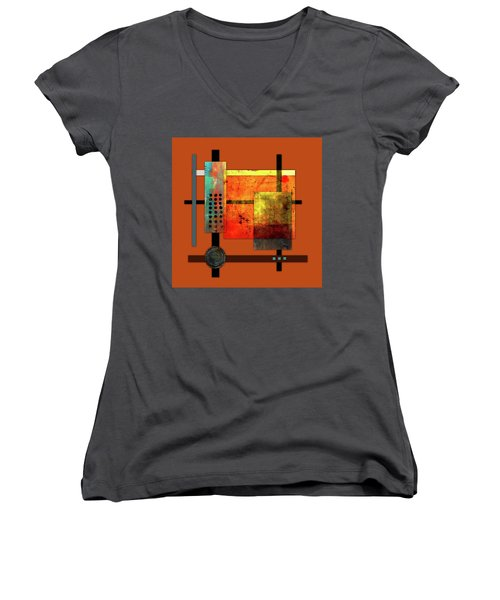 Collage Abstract 7 Women's V-Neck T-Shirt (Junior Cut) by Patricia Lintner