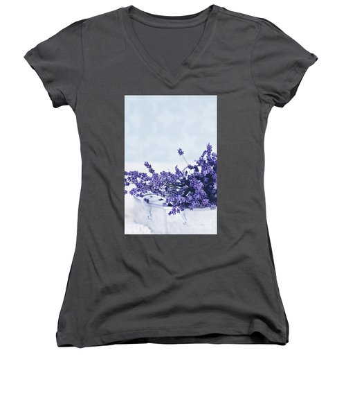 Women's V-Neck T-Shirt (Junior Cut) featuring the photograph Collection Of Lavender  by Stephanie Frey