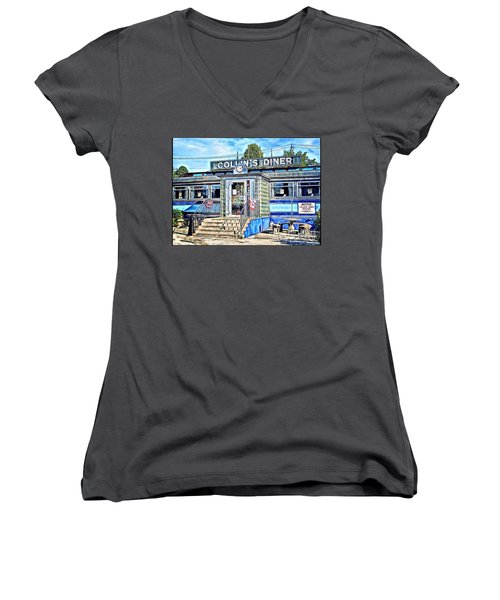 Collin's Diner New Canaan,conn Women's V-Neck T-Shirt