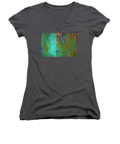 Color Abstraction Lxvii Women's V-Neck T-Shirt (Junior Cut) by David Gordon