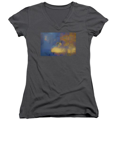 Women's V-Neck T-Shirt (Junior Cut) featuring the photograph Color Abstraction Lxviii by David Gordon