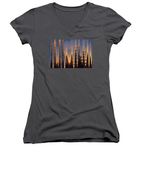 Women's V-Neck T-Shirt (Junior Cut) featuring the photograph Color Abstraction Xl by David Gordon