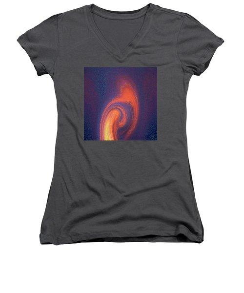 Women's V-Neck T-Shirt (Junior Cut) featuring the digital art Color Abstraction Xlii by David Gordon