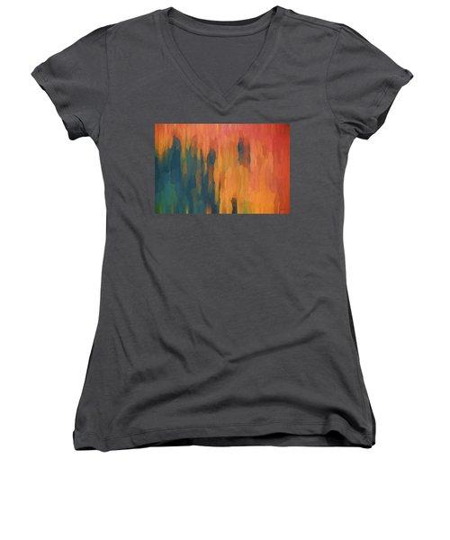Color Abstraction Xlix Women's V-Neck T-Shirt (Junior Cut) by David Gordon