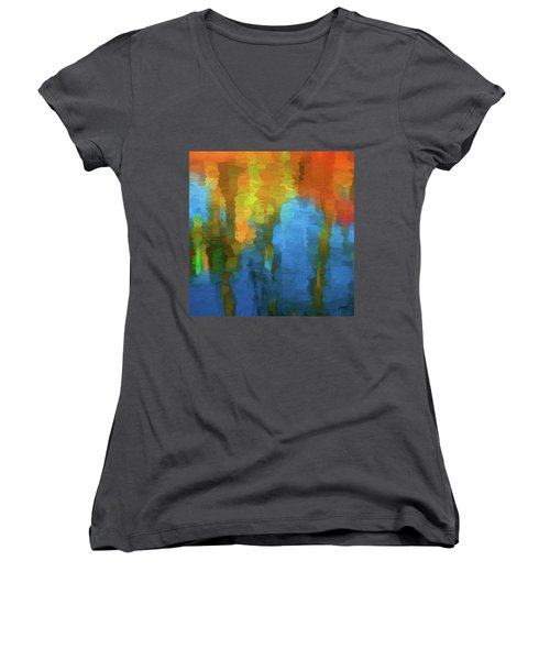 Color Abstraction Xxxi Women's V-Neck T-Shirt (Junior Cut) by David Gordon