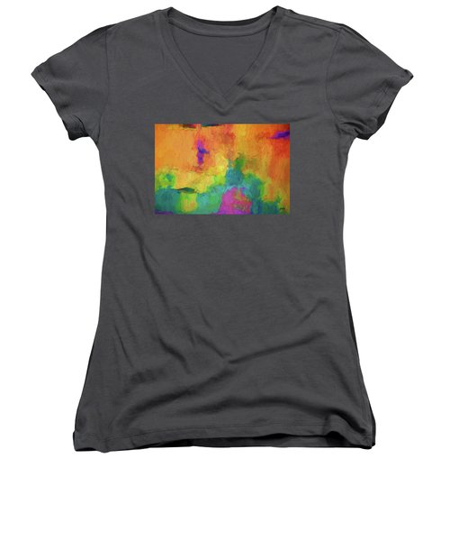 Color Abstraction Xxxiv Women's V-Neck (Athletic Fit)