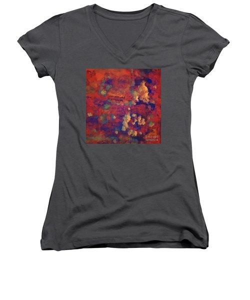 Women's V-Neck T-Shirt (Junior Cut) featuring the digital art Color Abstraction Xxxv by David Gordon