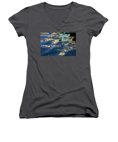 Color Abstraction Xxxvii - Painterly Women's V-Neck T-Shirt (Junior Cut) by David Gordon