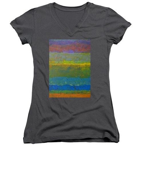 Color Collage Five Women's V-Neck T-Shirt (Junior Cut) by Michelle Calkins
