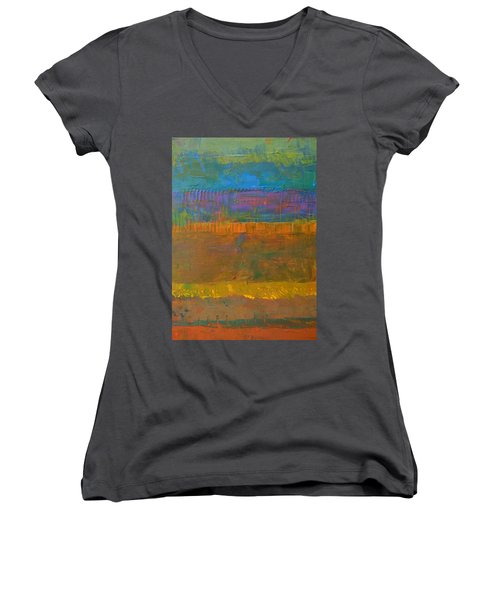 Color Collage One Women's V-Neck T-Shirt (Junior Cut) by Michelle Calkins