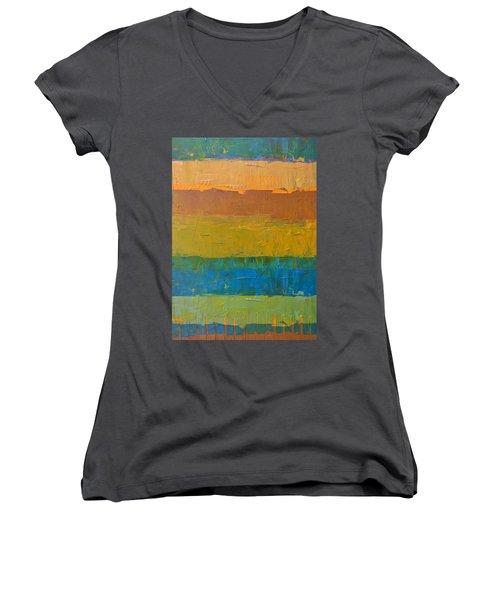 Color Collage Three Women's V-Neck T-Shirt (Junior Cut) by Michelle Calkins
