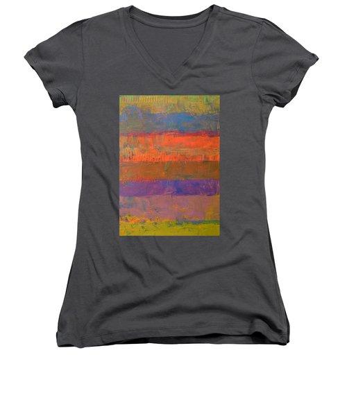 Color Collage Two Women's V-Neck T-Shirt (Junior Cut) by Michelle Calkins