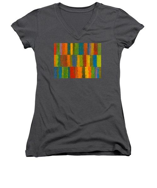 Color Collage With Stripes Women's V-Neck T-Shirt (Junior Cut) by Michelle Calkins