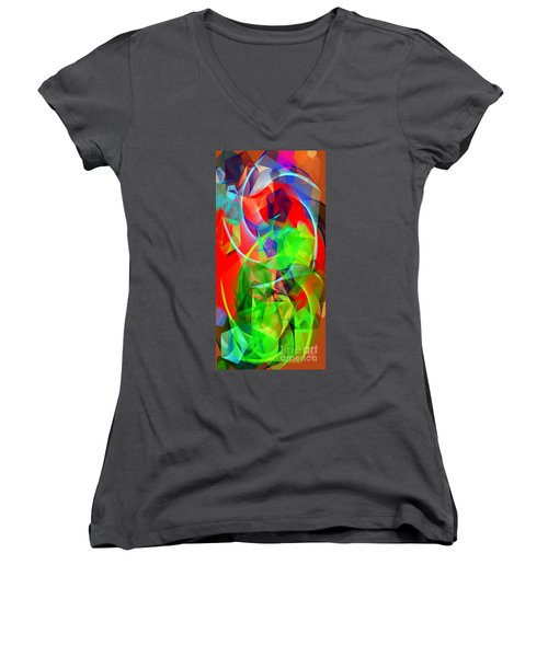 Women's V-Neck T-Shirt featuring the digital art Color Dance 3720 by Rafael Salazar