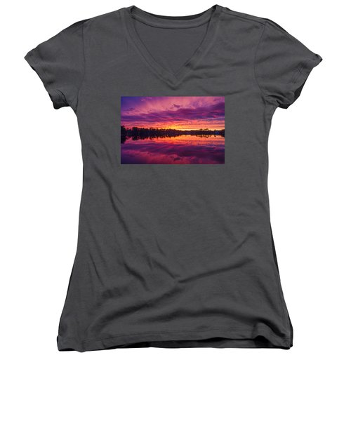 Color Explosion Sunset Women's V-Neck (Athletic Fit)