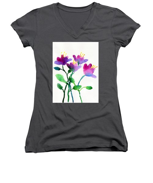 Color Flowers Women's V-Neck