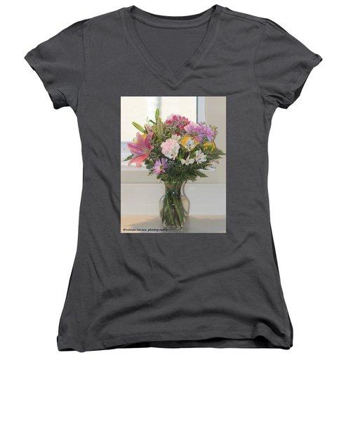 Color Me Happy Women's V-Neck T-Shirt (Junior Cut) by Nance Larson
