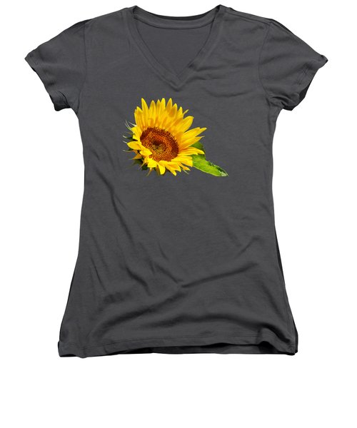 Color Me Happy Sunflower Women's V-Neck T-Shirt (Junior Cut) by Christina Rollo