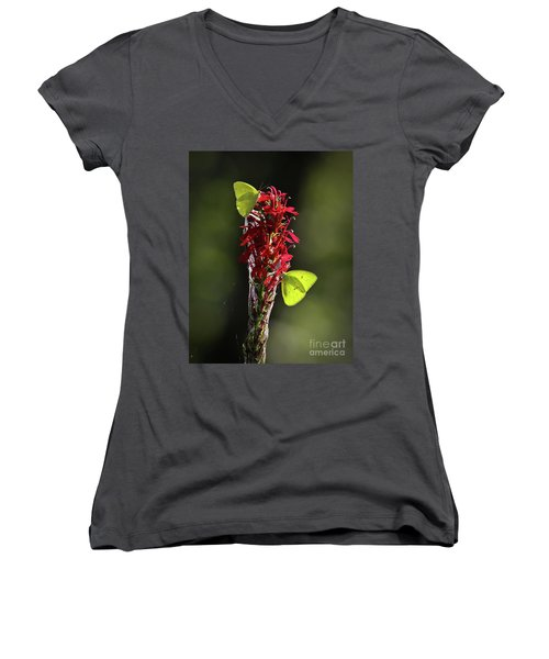 Women's V-Neck T-Shirt (Junior Cut) featuring the photograph Color On Citico by Douglas Stucky