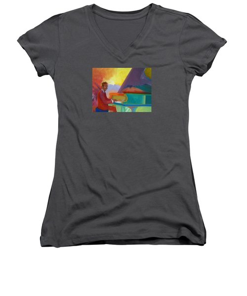 Color Piano Justin Levitt Steinway Women's V-Neck T-Shirt