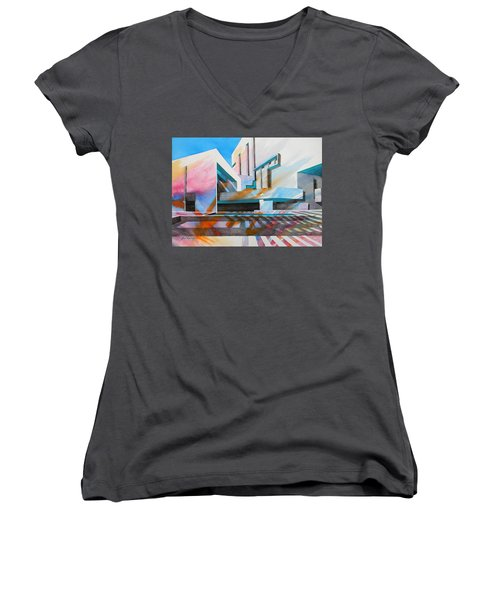 Women's V-Neck T-Shirt (Junior Cut) featuring the painting Color Simphony by J- J- Espinoza
